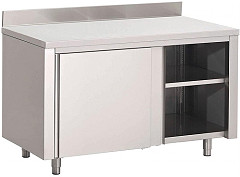 Gastro M Gastro-M S/S working table with sliding doors and upstand