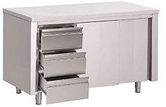Gastro M Gastro-M S/S working table with sliding doors and 3 drawers LEFT 1600x700x850mm