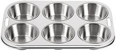 Vogue Stainless Steel Deep Muffin Tray 6 Cup